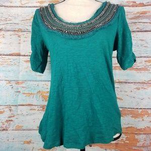 Deletta fr anthro green jewelscape cotton top